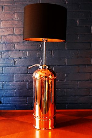 Upcycled recycled bespoke copper chrome fire extinguisher lamp light