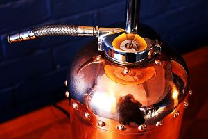 Upcycled recycled bespoke copper chrome fire extinguisher lamp light 3