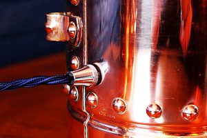 Upcycled recycled bespoke copper chrome fire extinguisher lamp light 5