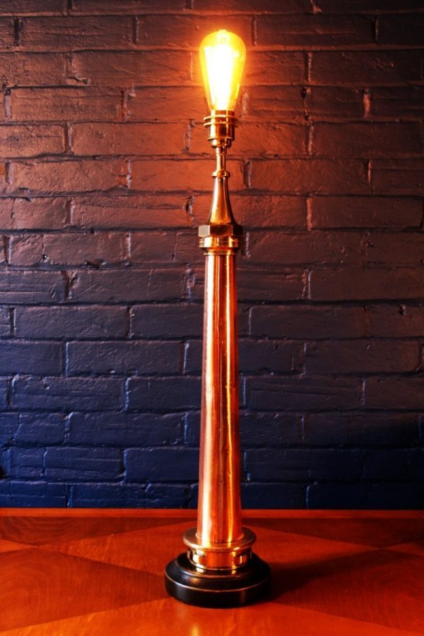 Upcycling recycling bespoke copper brass fire branch lamp light 2