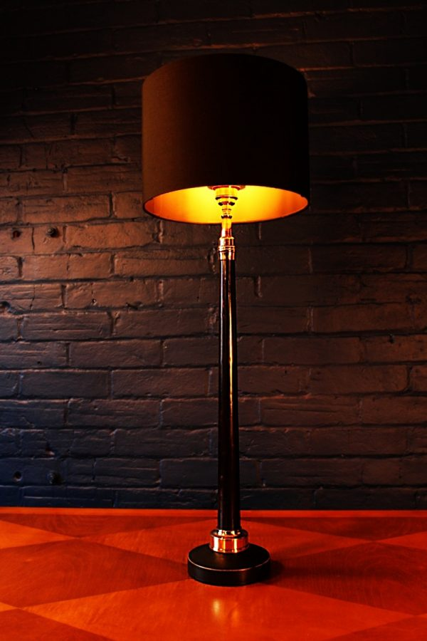 Upcycled recycled bespoke black copper fire branch lamp light 1