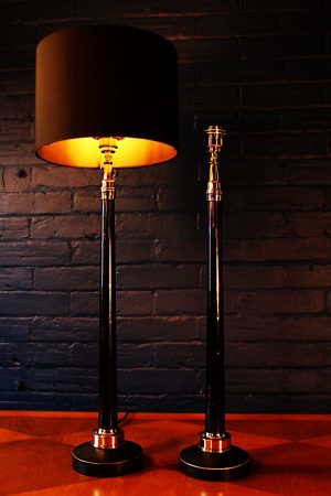 Upcycled recycled bespoke black copper fire branch lamp light