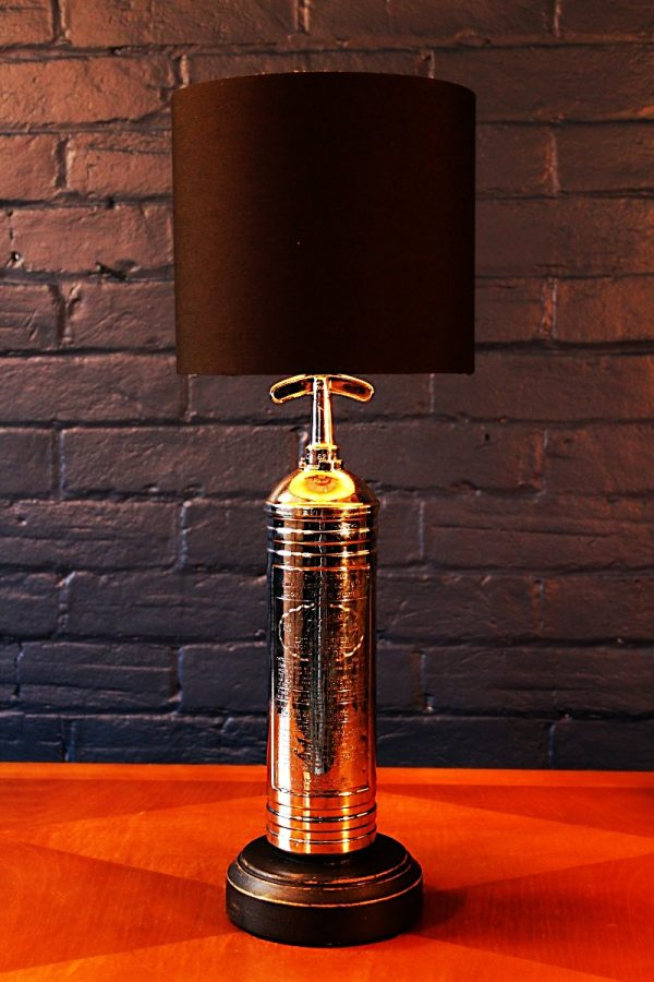 Upcycled recycled bespoke chrome fire extinguisher lamp light
