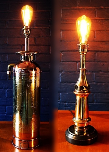 Upcycled recycled bespoke fire brass copper lamp light 1a