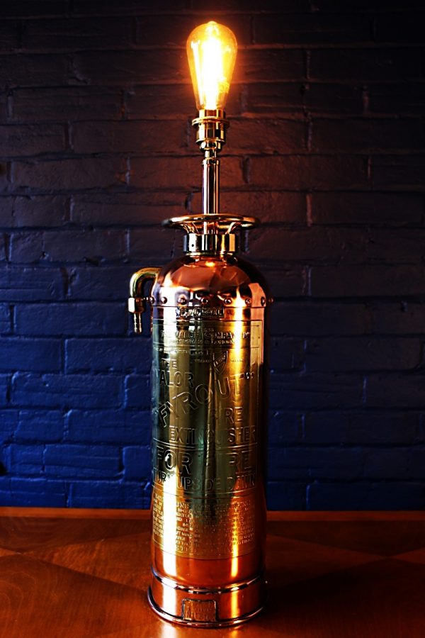Upcycled recycled bespoke copper brass fire extinguisher lamp light 6