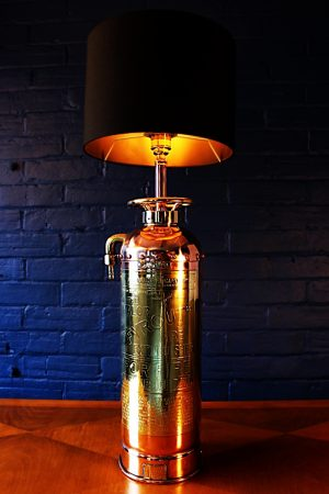 Upcycled recycled bespoke copper brass fire extinguisher lamp light 8
