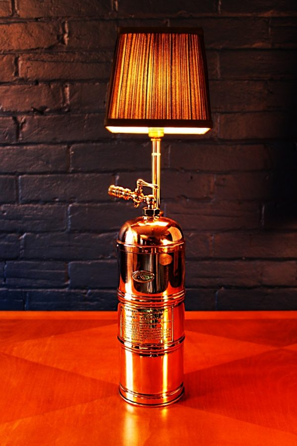 Upcycled recycled bespoke copper brass sprayer lamp light