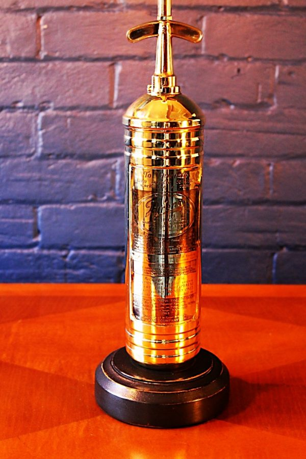 Upcycled recycled bespoke brass fire extinguisher lamp light 8