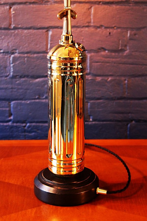 Upcycled recycled bespoke brass fire extinguisher lamp light 7