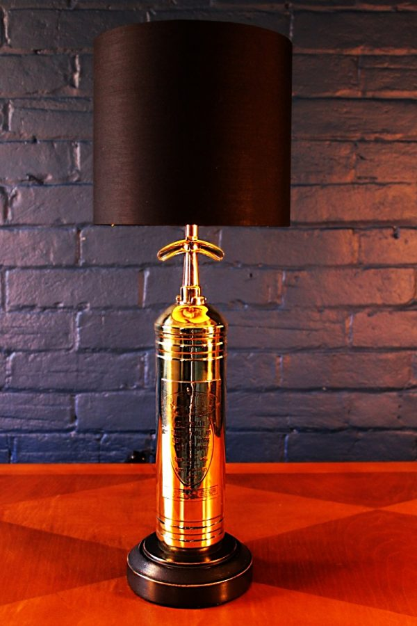 Upcycled recycled bespoke brass fire extinguisher lamp light 4