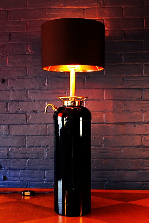 Upcycled recycled bespoke painted Porsche fire extinguisher lamp light 6