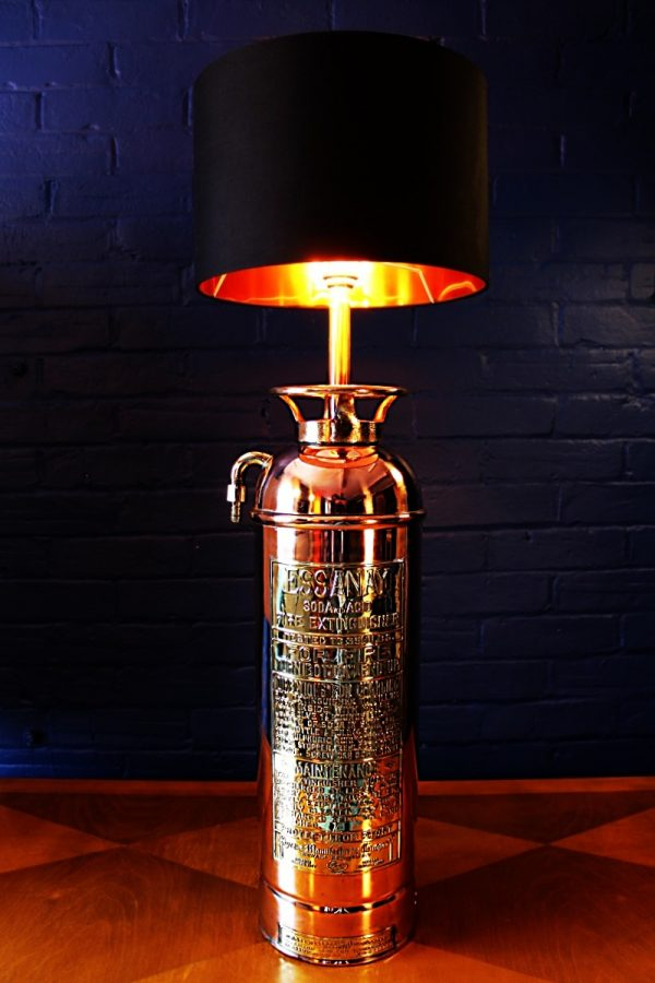 Upcycled recycled copper brass fire extinguisher lamp light 50