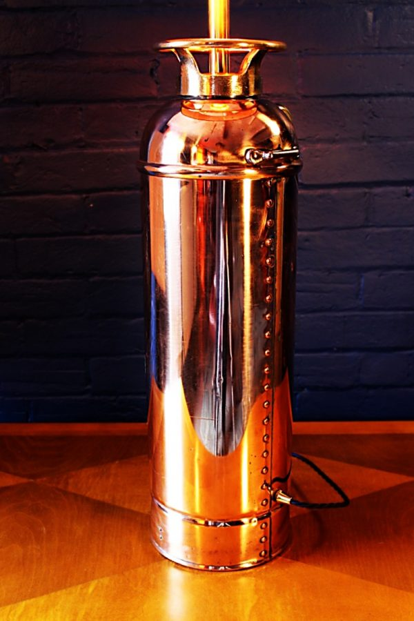 Upcycled recycled copper brass fire extinguisher lamp light 54