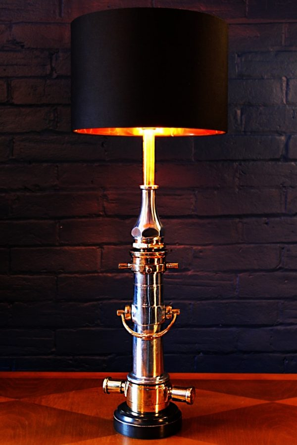 Upcycled recycled brass aluminium London nozzle fire branch table lamp light 9