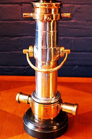 Upcycled recycled brass aluminium London nozzle fire branch table lamp light 11