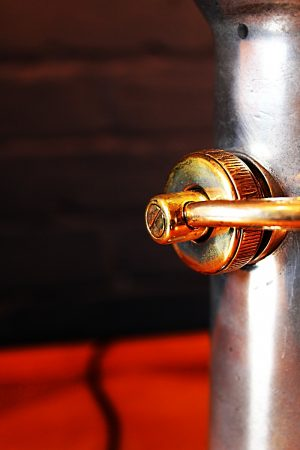 Upcycled recycled brass aluminium London nozzle fire branch table lamp light 5