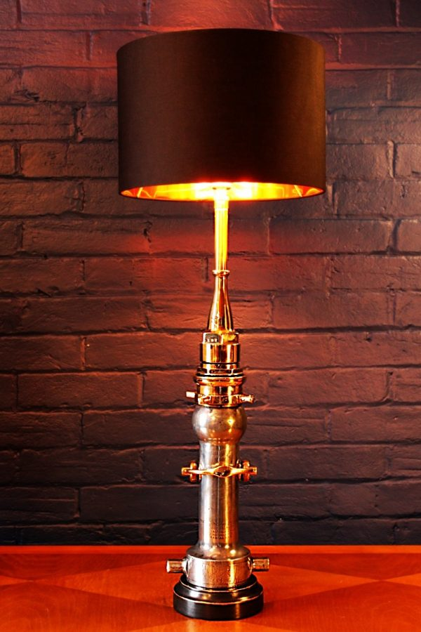 Upcycled recycled brass aluminium London nozzle fire branch table lamp light