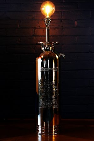 Upcycled recycled brass fire extinguisher table lamp light