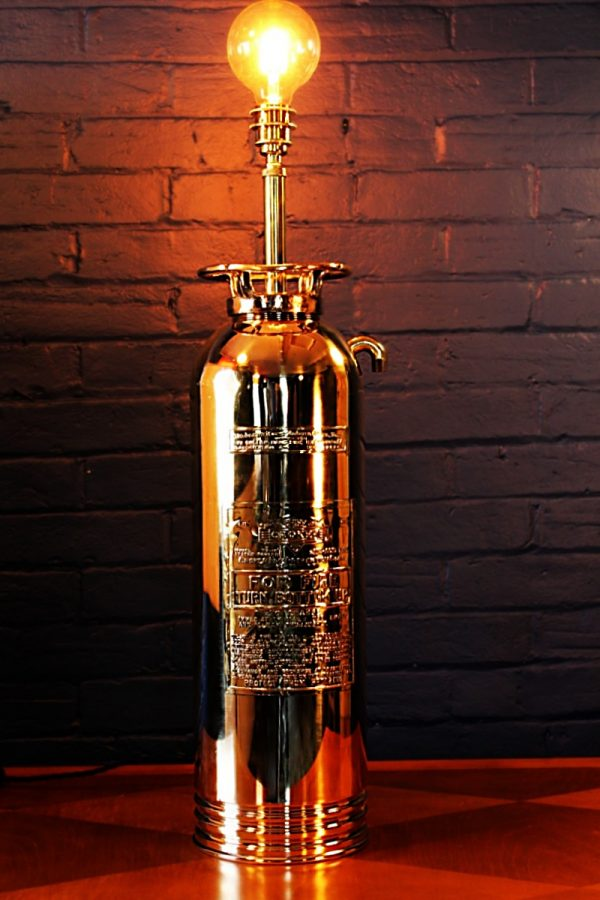 Upcycled recycled brass fire extinguisher table lamp light 1