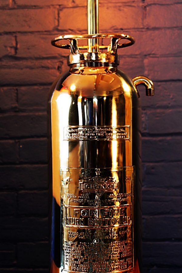 Upcycled recycled brass fire extinguisher table lamp light 2