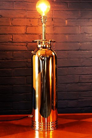 Upcycled recycled brass fire extinguisher table lamp light 11