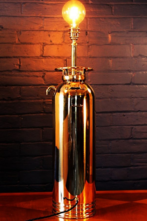 Upcycled recycled brass fire extinguisher table lamp light 12