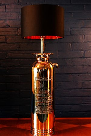 Upcycled recycled brass fire extinguisher table lamp light 16