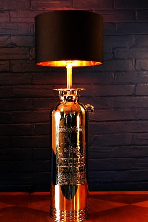 Upcycled recycled brass fire extinguisher table lamp light 17