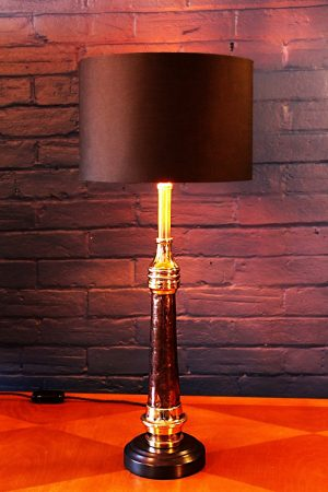 Upcycled recycled antique copper brass fire branch table lamp light