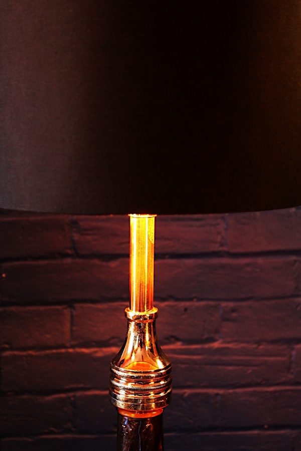 Upcycled recycled antique copper brass fire branch table lamp light 1