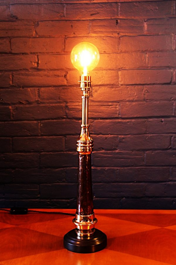 Upcycled recycled antique copper brass fire branch table lamp light 3
