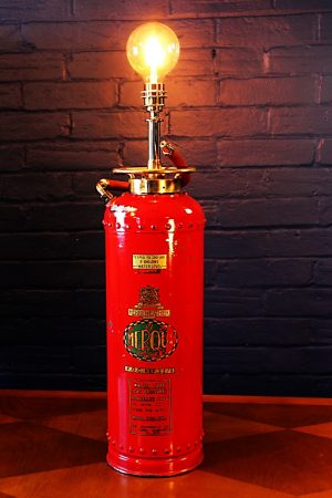 Upcycled recycled vintage red fire extinguisher table lamp light 8