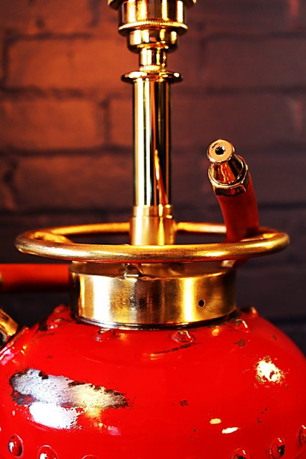 Upcycled recycled vintage red fire extinguisher table lamp light 2