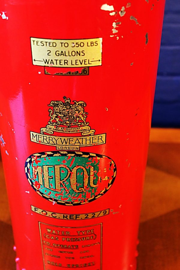Upcycled recycled vintage red fire extinguisher table lamp light 3