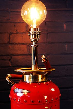 Upcycled recycled vintage red fire extinguisher table lamp light 4