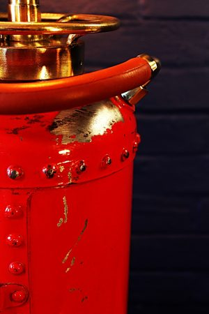 Upcycled recycled vintage red fire extinguisher table lamp light 7