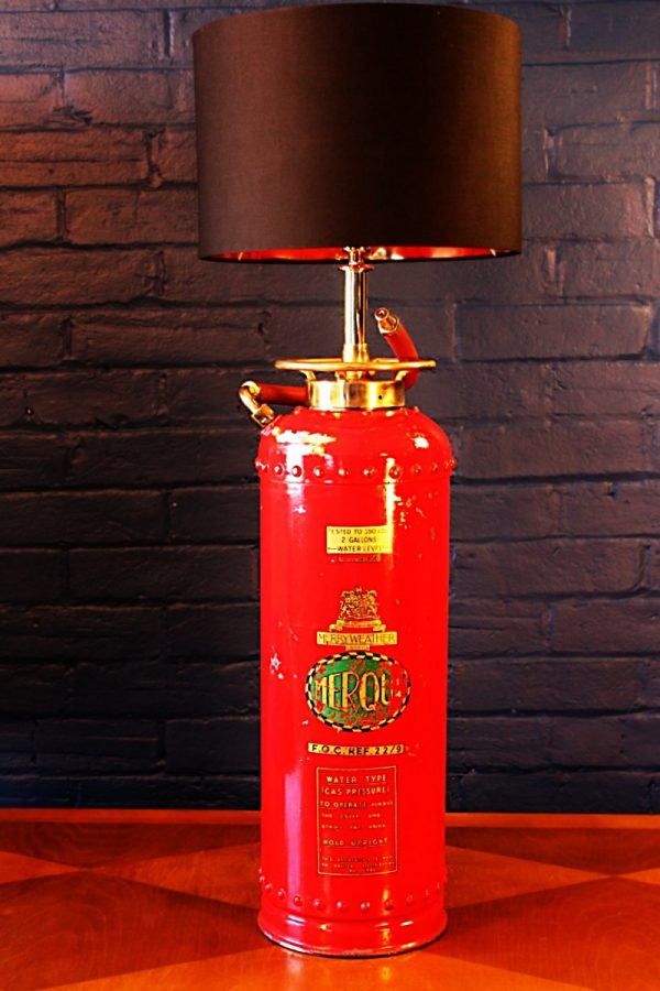 Upcycled recycled vintage red fire extinguisher table lamp light