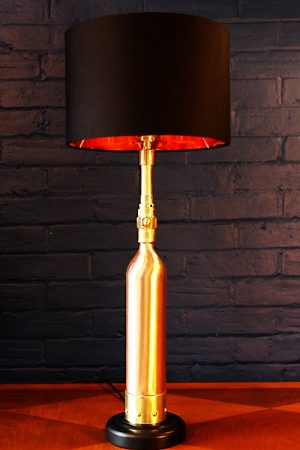 Upcycled recycled brass copper fire extinguisher table lamp light 30