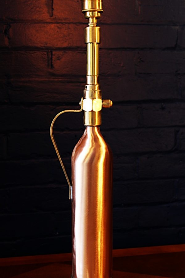 Upcycled recycled brass copper fire extinguisher table lamp light 35