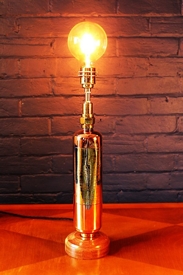 Upcycled recycled brass copper fire extinguisher table lamp light 40
