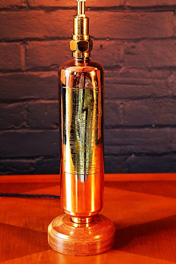 Upcycled recycled brass copper fire extinguisher table lamp light 41