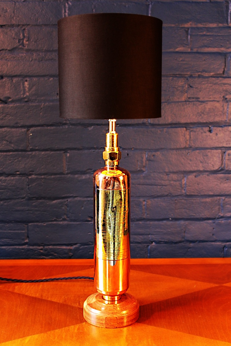 Upcycled recycled brass copper fire extinguisher table lamp light 42