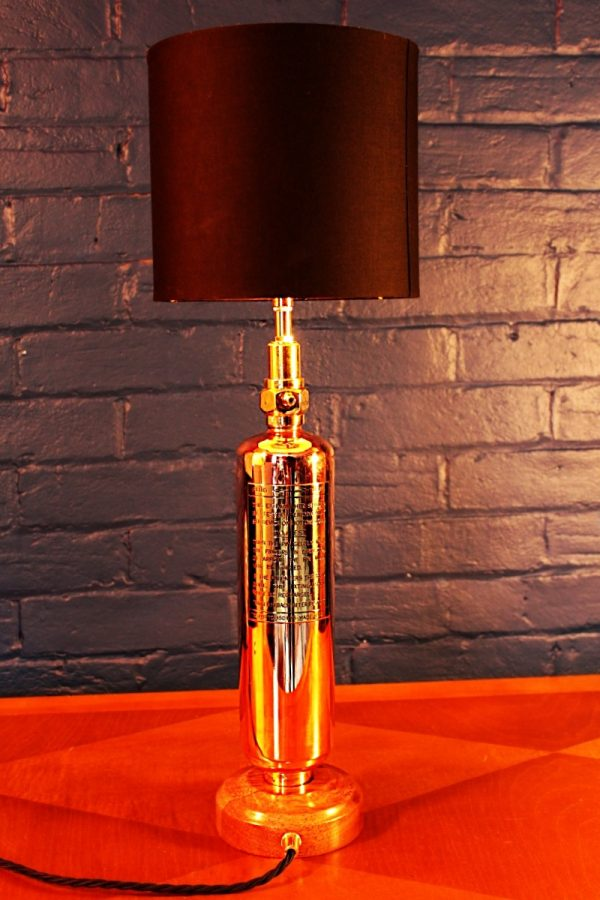 Upcycled recycled brass copper fire extinguisher table lamp light 45