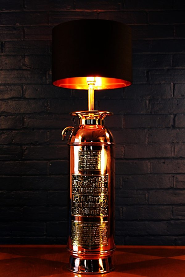 Upcycled recycled brass copper fire extinguisher table lamp light 47