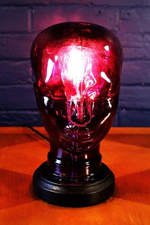 Glass head purple table lamp recycled 3
