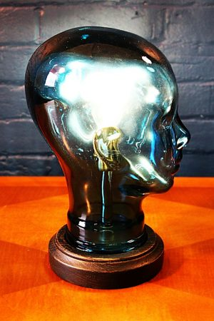 Glass head blue table lamp recycled