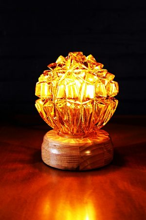 Glass globe amber vintage table lamp