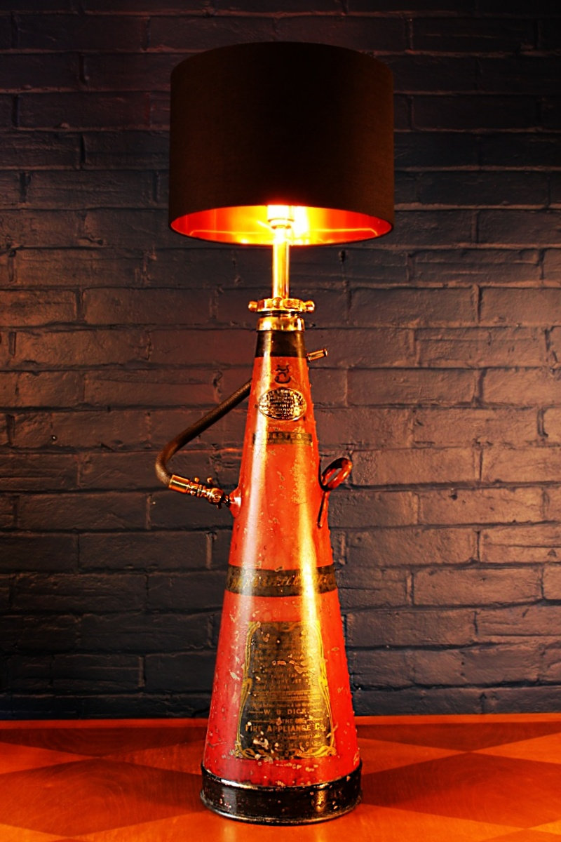 Upcycled recycled brass fire extinguisher table lamp light 58