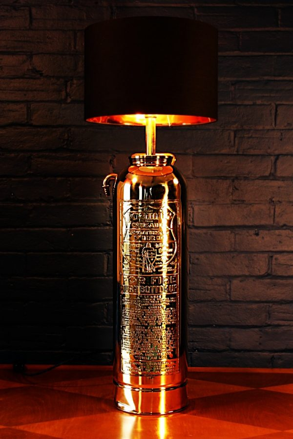Upcycled recycled brass fire extinguisher table lamp light 27