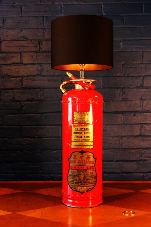 Upcycled recycled red brass fire extinguisher table lamp light